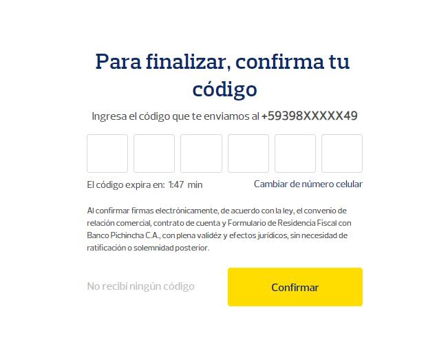confirma tu código que fue enviado a tu número de celular